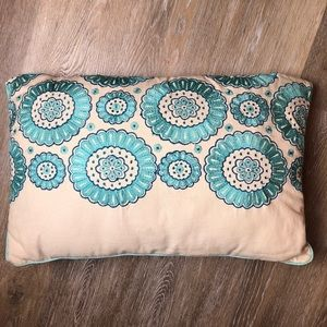 Lovely Turquoise and Blue Floral Throw Pillow